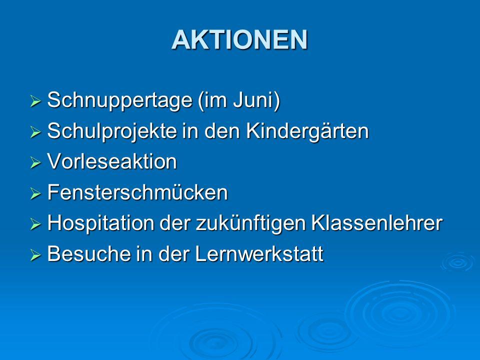 AKTIONEN Schnuppertage (im Juni) Schulprojekte in den Kindergärten