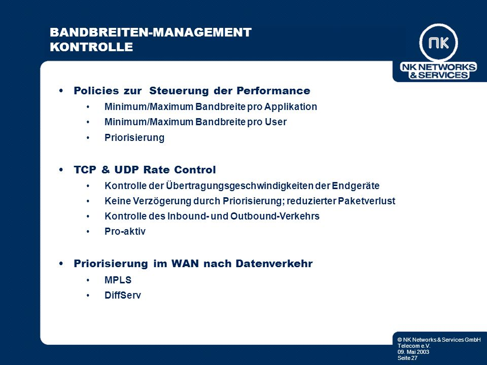 BANDBREITEN-MANAGEMENT KONTROLLE