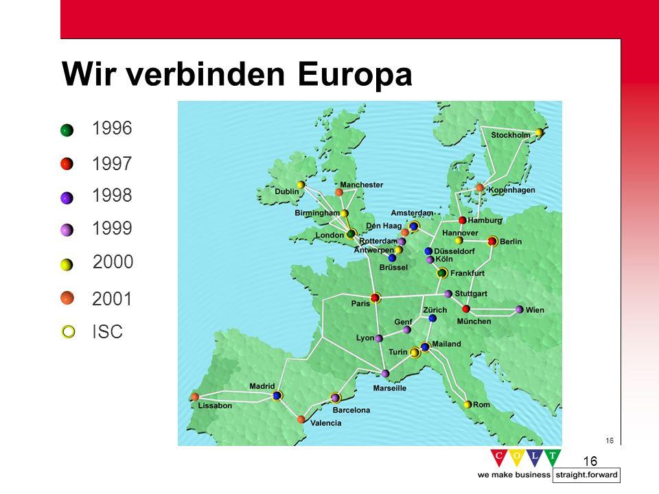 Wir verbinden Europa 1996 1997 1998 1999 2000 2001 ISC