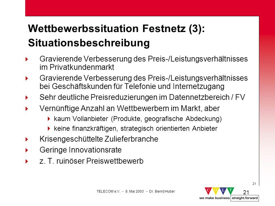 Wettbewerbssituation Festnetz (3): Situationsbeschreibung