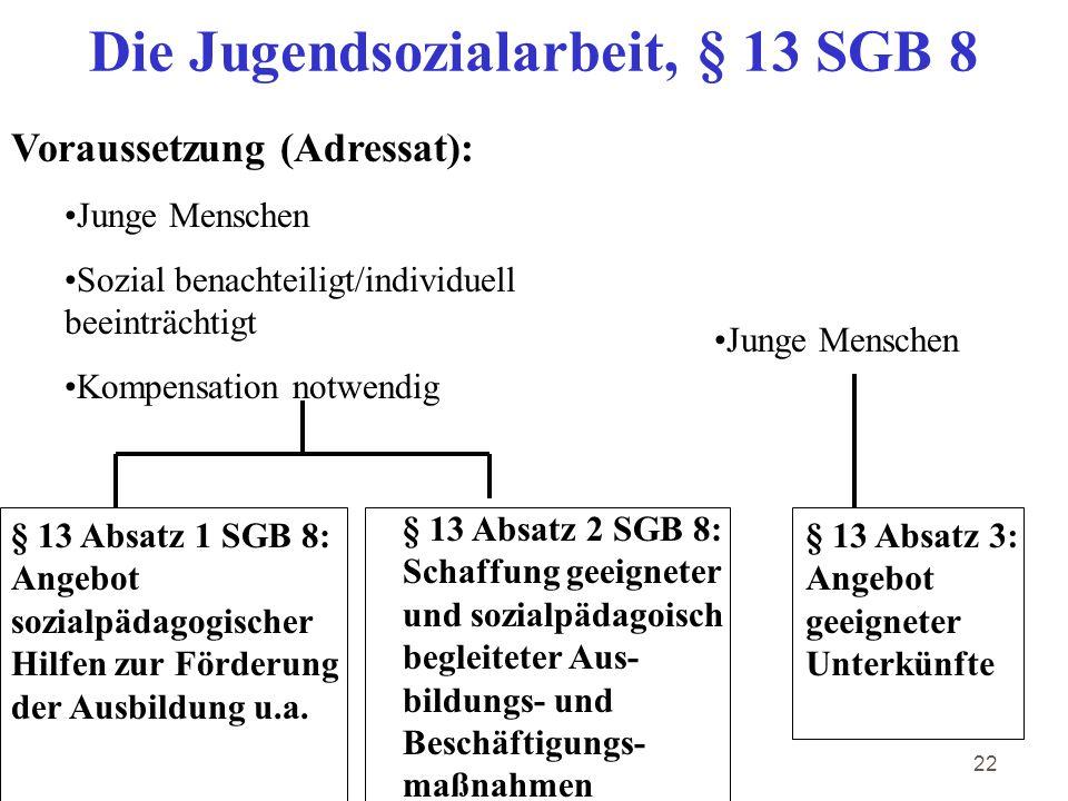 Die Jugendsozialarbeit, § 13 SGB 8