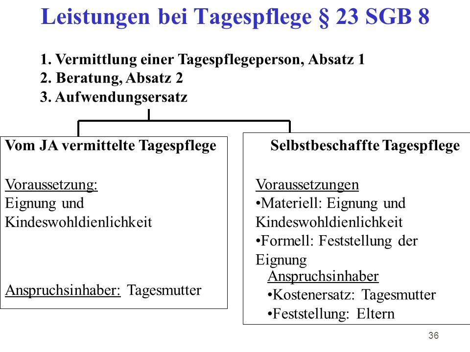 Leistungen bei Tagespflege § 23 SGB 8