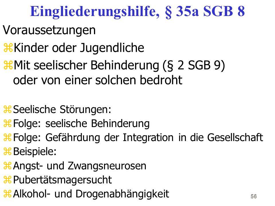 Eingliederungshilfe, § 35a SGB 8