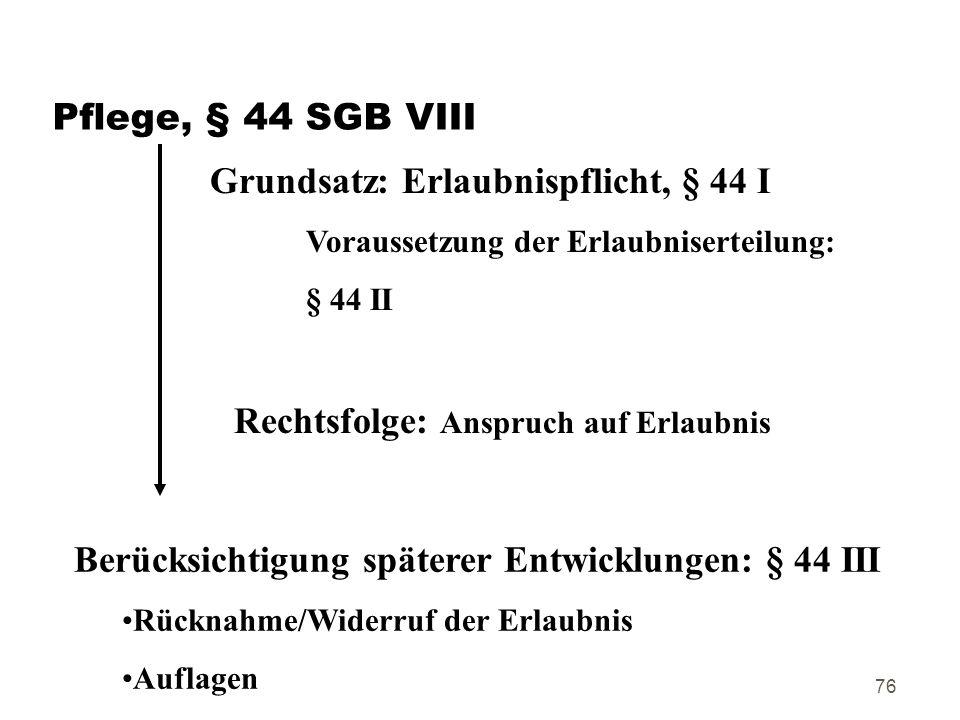 Grundsatz: Erlaubnispflicht, § 44 I