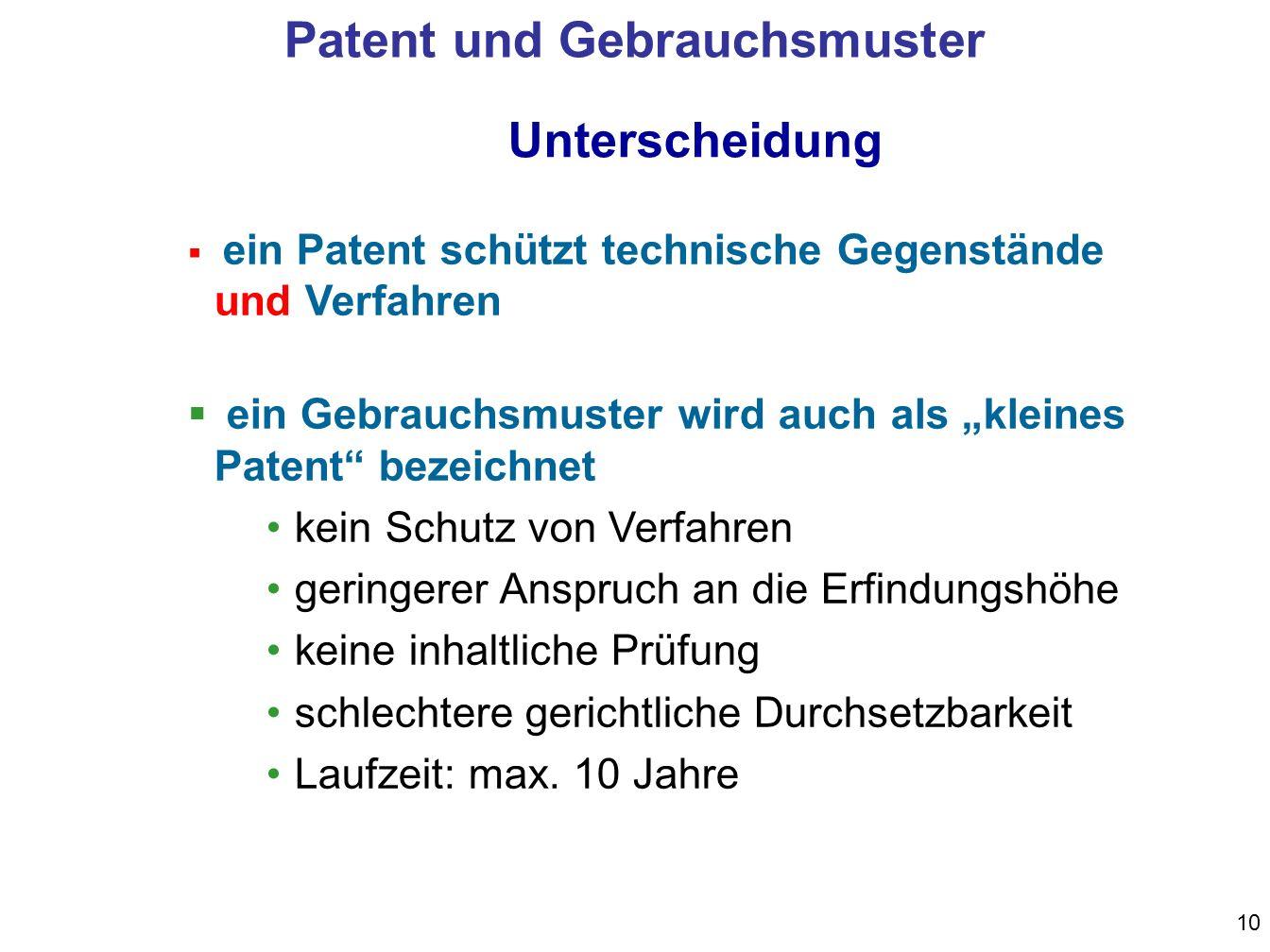Patent und Gebrauchsmuster