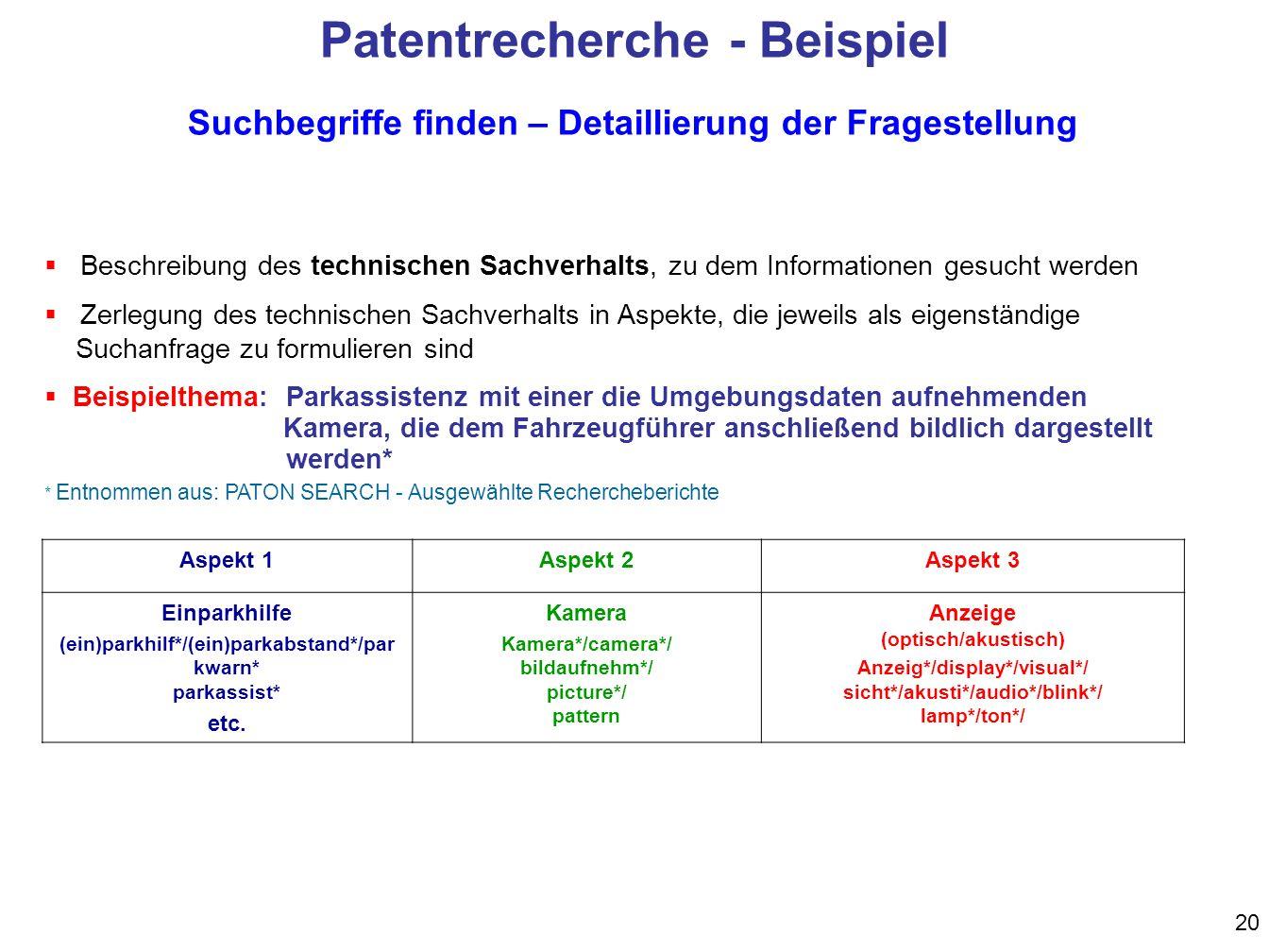 Patentrecherche - Beispiel