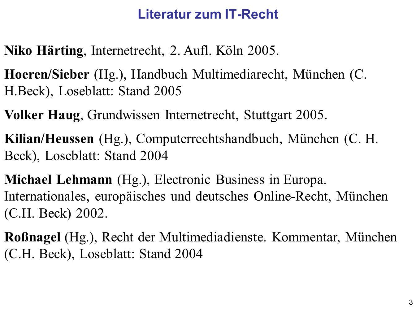Literatur zum IT-Recht