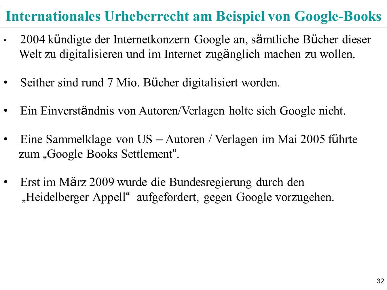 Internationales Urheberrecht am Beispiel von Google-Books