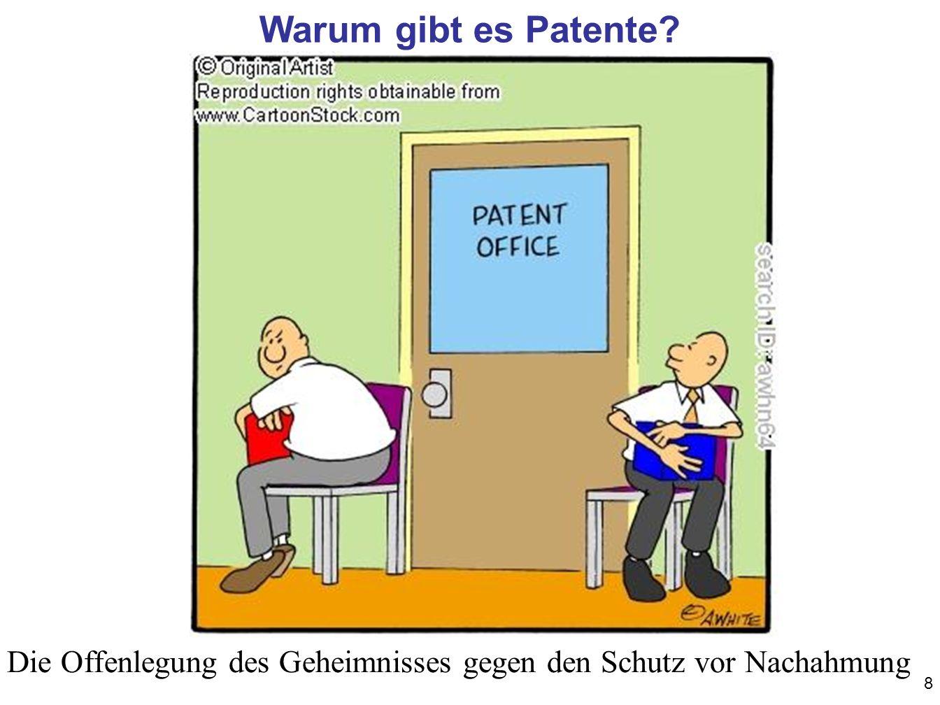 Warum gibt es Patente d.h. Sicherung des Marktvorsprungs, Schutz vor Nachahmung. Die Offenlegung des Geheimnisses gegen den Schutz vor Nachahmung.