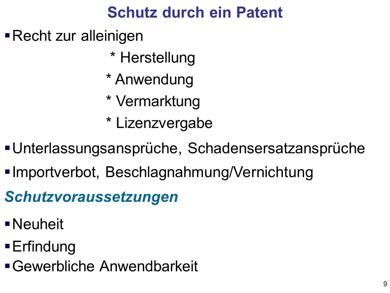 Schutz durch ein Patent