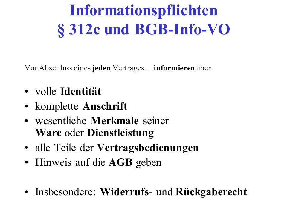 Informationspflichten § 312c und BGB-Info-VO