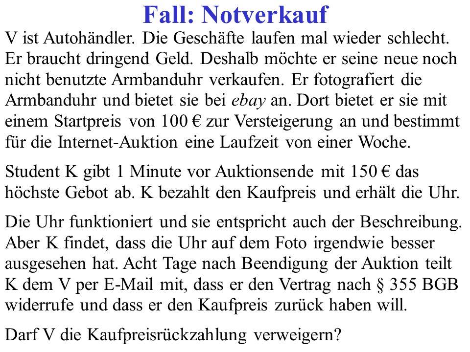 Fall: Notverkauf