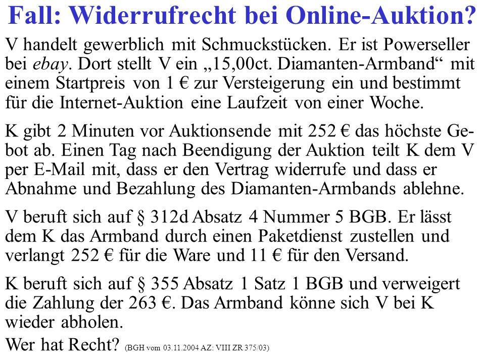 Fall: Widerrufrecht bei Online-Auktion