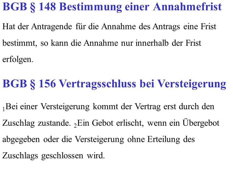BGB § 148 Bestimmung einer Annahmefrist