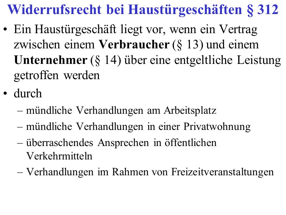 Widerrufsrecht bei Haustürgeschäften § 312