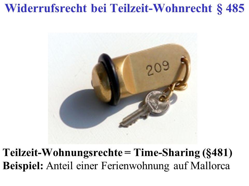 Widerrufsrecht bei Teilzeit-Wohnrecht § 485