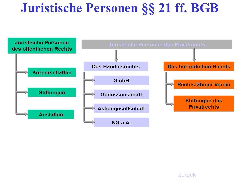 Juristische Personen §§ 21 ff. BGB
