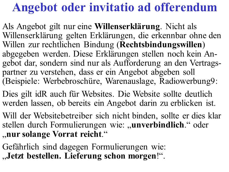 Angebot oder invitatio ad offerendum