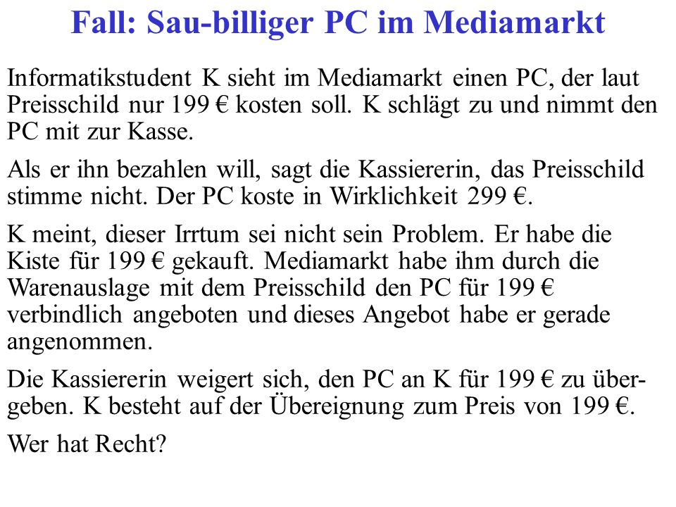 Fall: Sau-billiger PC im Mediamarkt