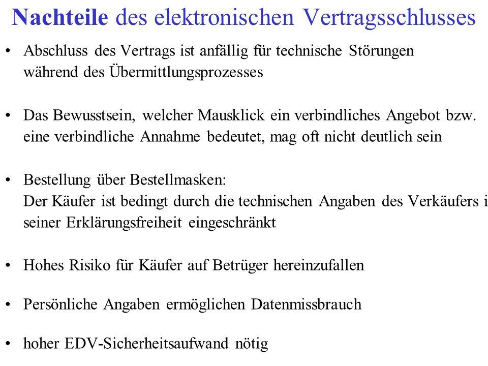 Nachteile des elektronischen Vertragsschlusses