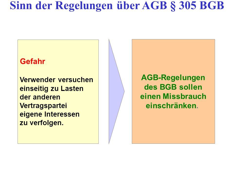 Sinn der Regelungen über AGB § 305 BGB