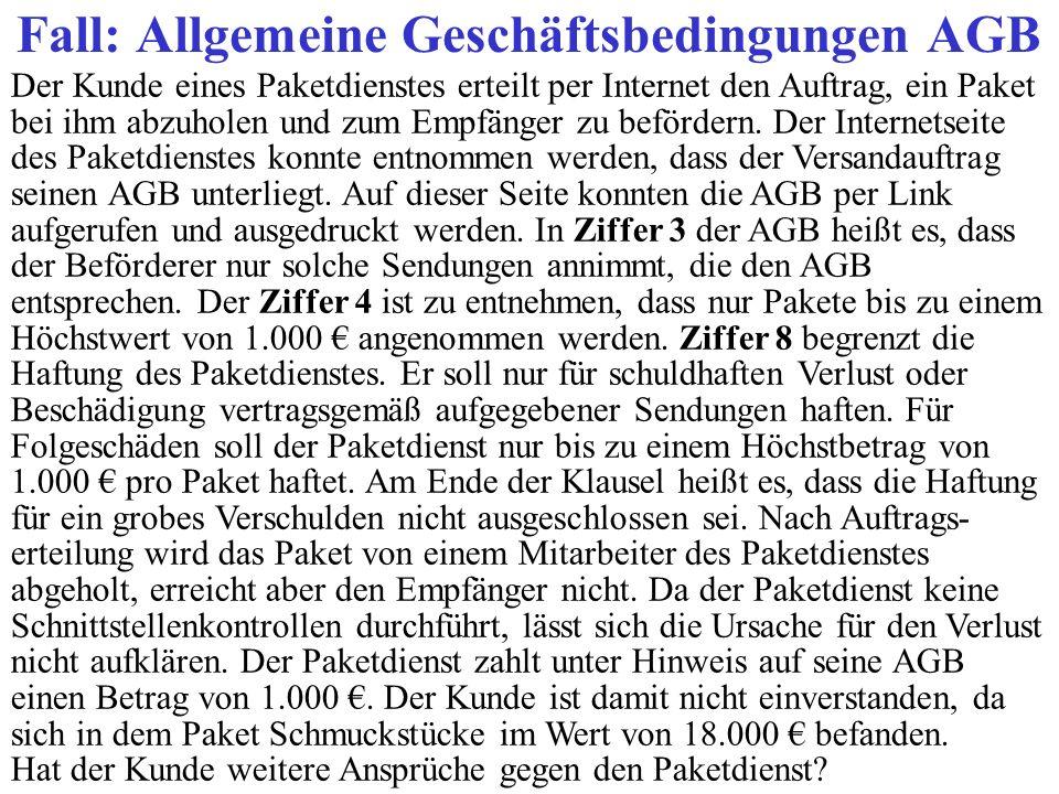 Fall: Allgemeine Geschäftsbedingungen AGB