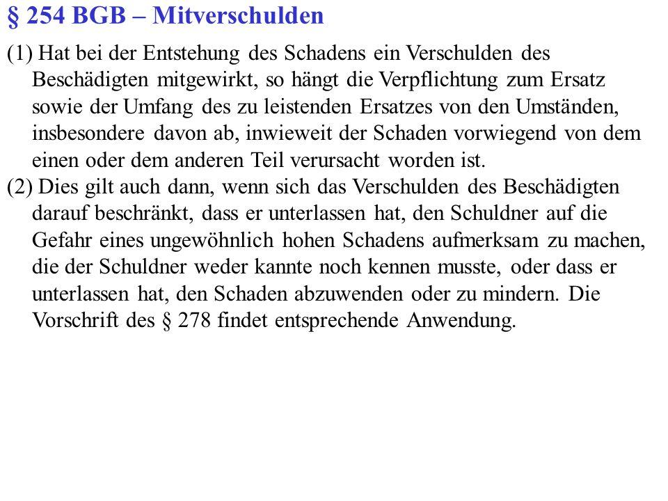 § 254 BGB – Mitverschulden