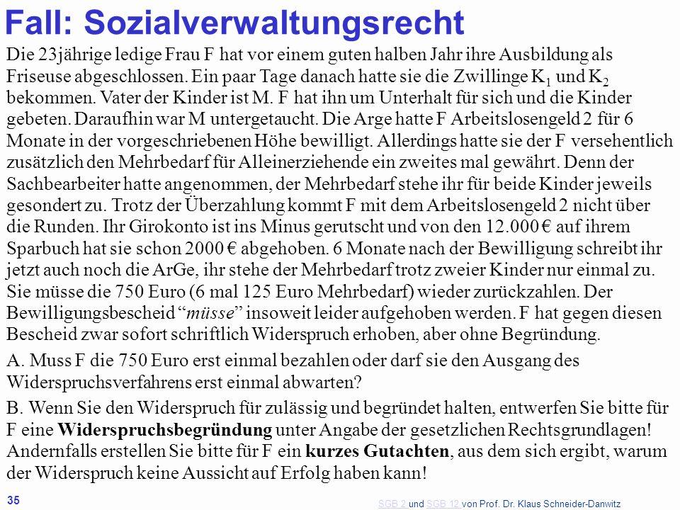 Fall: Sozialverwaltungsrecht