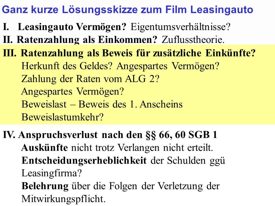 Ganz kurze Lösungsskizze zum Film Leasingauto