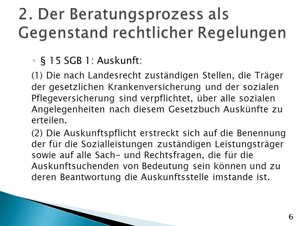 2. Der Beratungsprozess als Gegenstand rechtlicher Regelungen