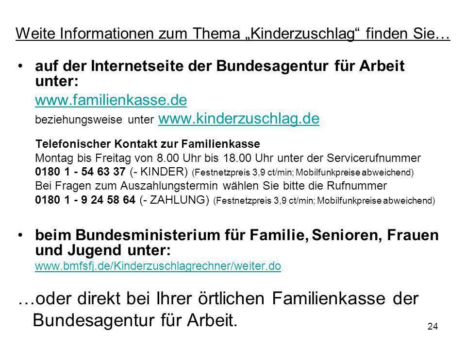 """Weite Informationen zum Thema """"Kinderzuschlag finden Sie…"""