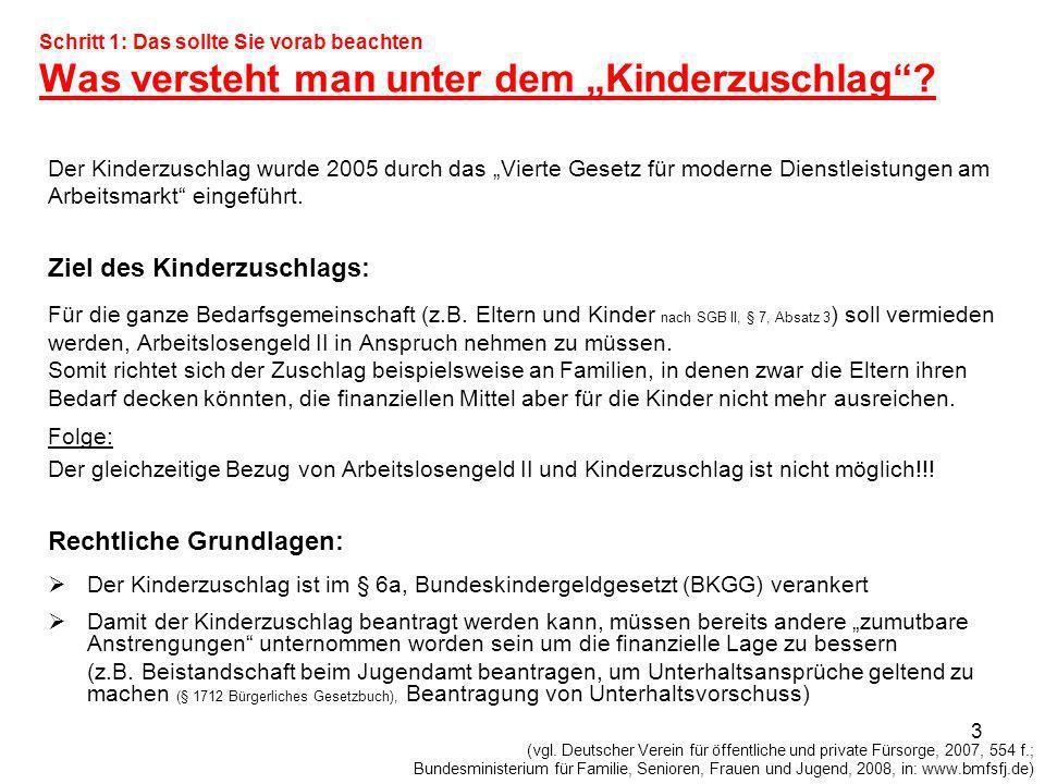 Ziel des Kinderzuschlags: