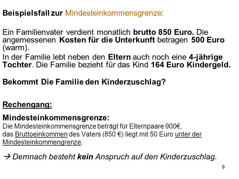 Beispielsfall zur Mindesteinkommensgrenze: