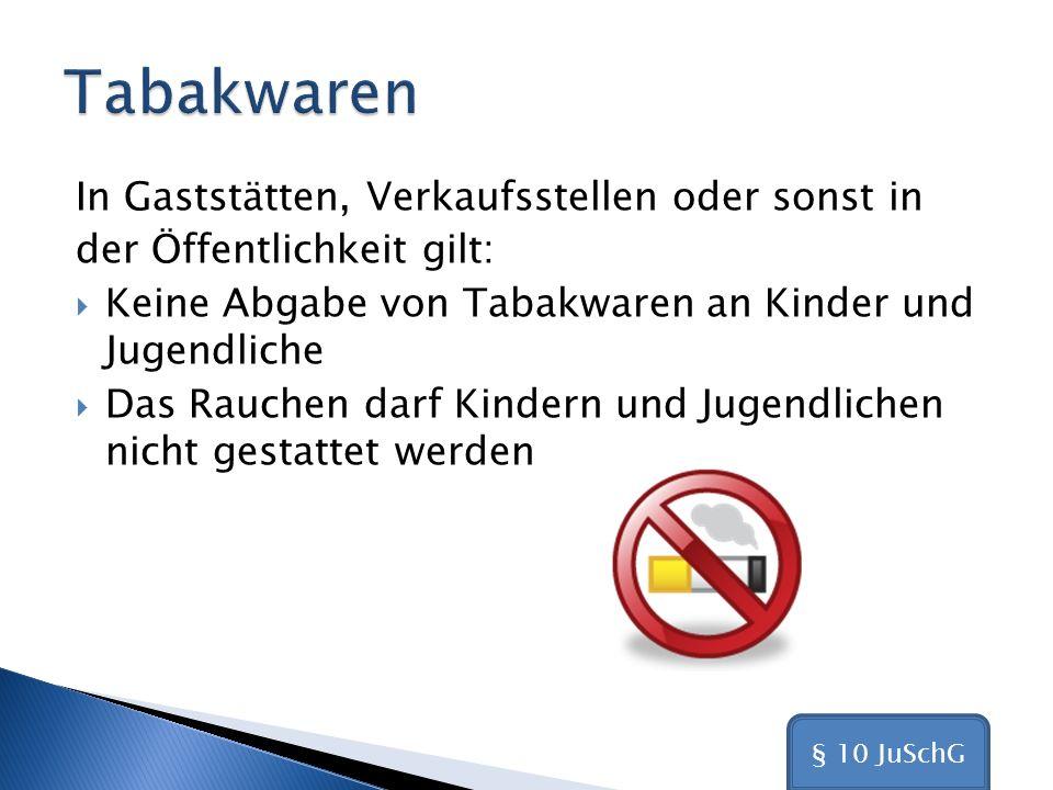 Tabakwaren In Gaststätten, Verkaufsstellen oder sonst in