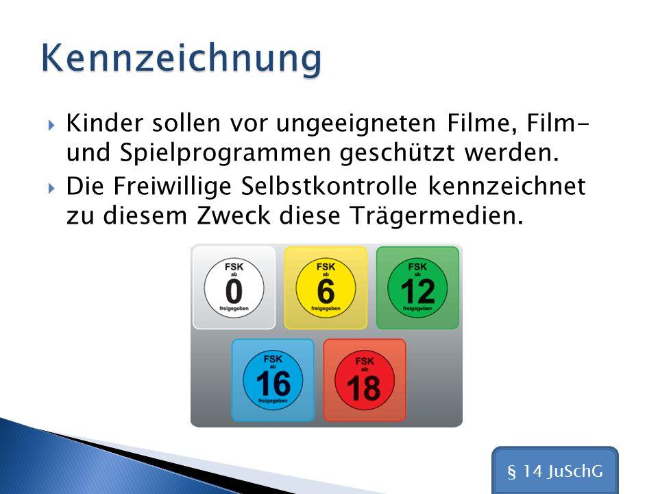 Kennzeichnung Kinder sollen vor ungeeigneten Filme, Film- und Spielprogrammen geschützt werden.