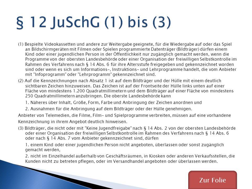 § 12 JuSchG (1) bis (3) Zur Folie