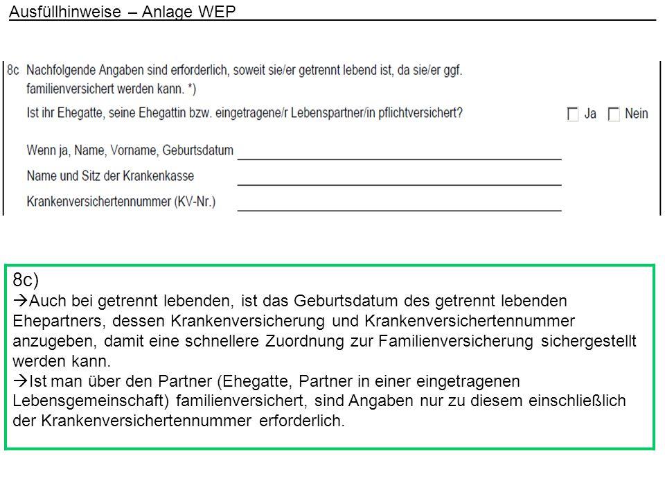Ausfüllhinweise – Anlage WEP _