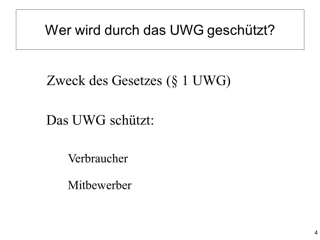 Wer wird durch das UWG geschützt