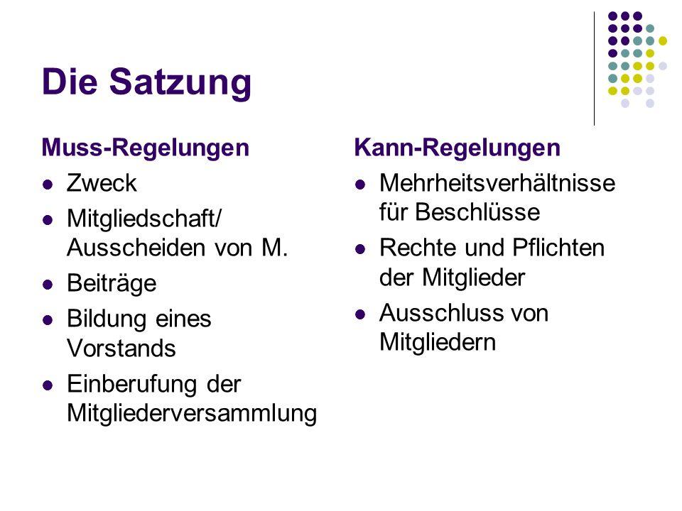 Die Satzung Muss-Regelungen Zweck Mitgliedschaft/ Ausscheiden von M.