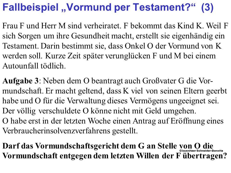 """Fallbeispiel """"Vormund per Testament (3)"""