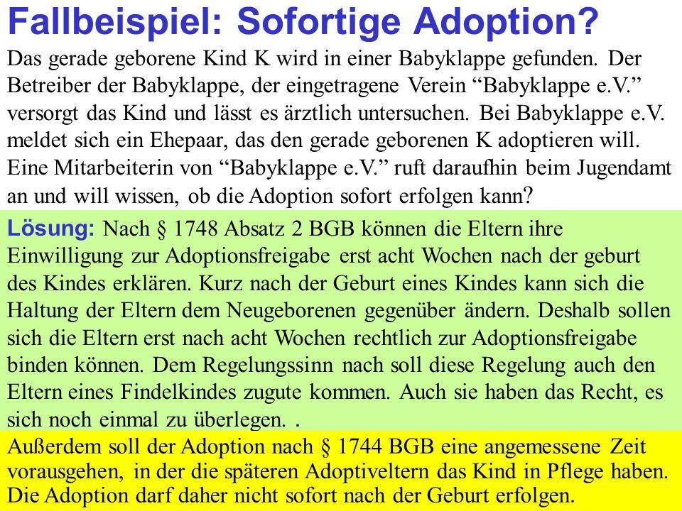 Fallbeispiel: Sofortige Adoption