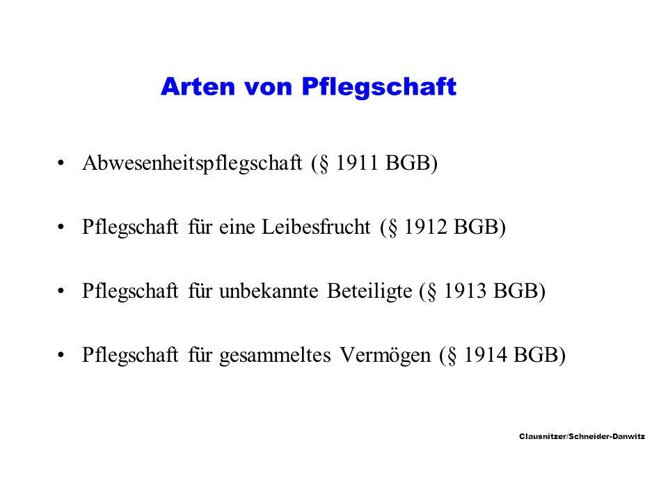 Arten von Pflegschaft Abwesenheitspflegschaft (§ 1911 BGB)