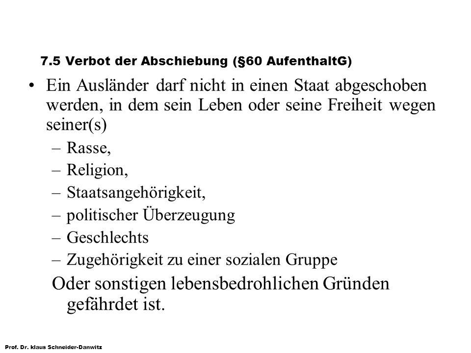 7.5 Verbot der Abschiebung (§60 AufenthaltG)