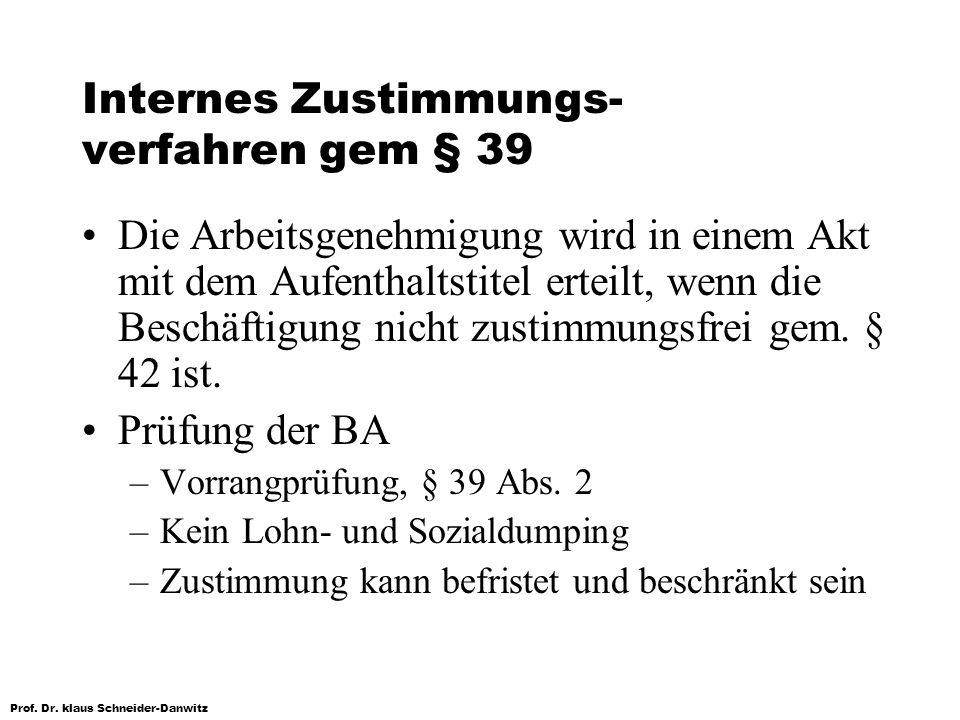 Internes Zustimmungs-verfahren gem § 39