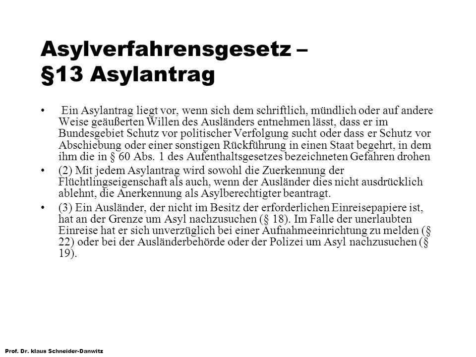 Asylverfahrensgesetz – §13 Asylantrag