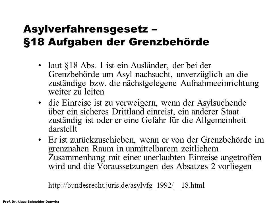 Asylverfahrensgesetz – §18 Aufgaben der Grenzbehörde