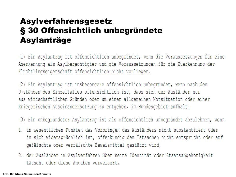Asylverfahrensgesetz § 30 Offensichtlich unbegründete Asylanträge