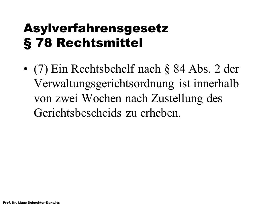 Asylverfahrensgesetz § 78 Rechtsmittel