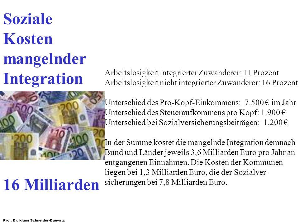 Soziale Kosten mangelnder Integration