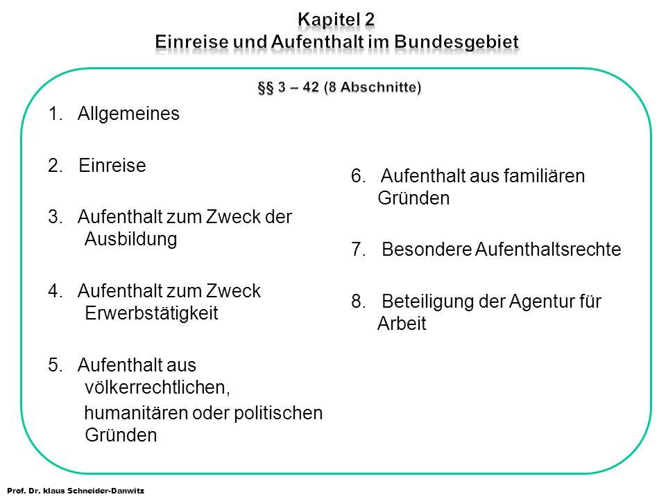 Kapitel 2 Einreise und Aufenthalt im Bundesgebiet §§ 3 – 42 (8 Abschnitte)